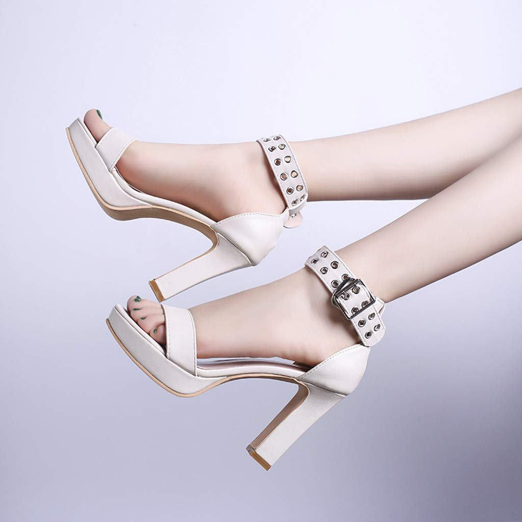 Womens Summer Open Toe Ankle Strap Chunky Block High Heel Dress Party Pump Sandals Beige by CCOOfhhc (Image #5)