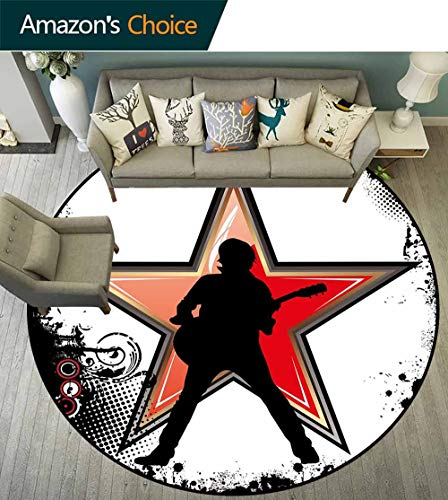Rock Music Round Rug Thin,Guitar Player Star Abstract Monochrome Splashes and Halftone Frame Pattern Durable and Resistant to Soiling,Black Red Peach,D-67 ()