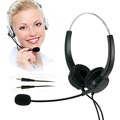 TelPal Computer Headset, Binaural PC Headset 3.5mm Professional, PC Headset Headphones (35D) -