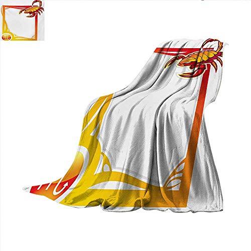 Zodiac Scorpio Throw Blanket The Eighth Sign from The Series of Zodiac Framework Design Velvet Plush Throw Blanket 60 x 60 inch Vermilion Orange Yellow