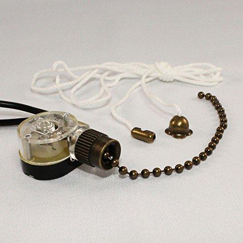 Zing Ear ZE-109 Pull Chain Switch Light Lamp Ceiling Fan Canopy (Antique Brass)