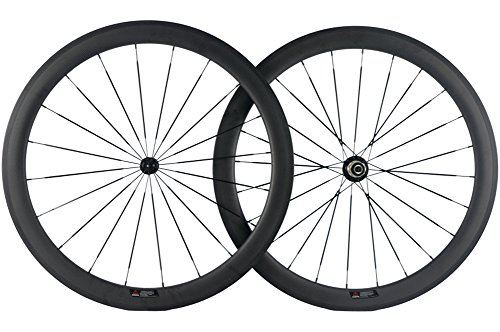 SunRise Bike 25mm U-Shape Wheel 50mm Carbon Fiber Bike Wheelset 700c Clincher ()