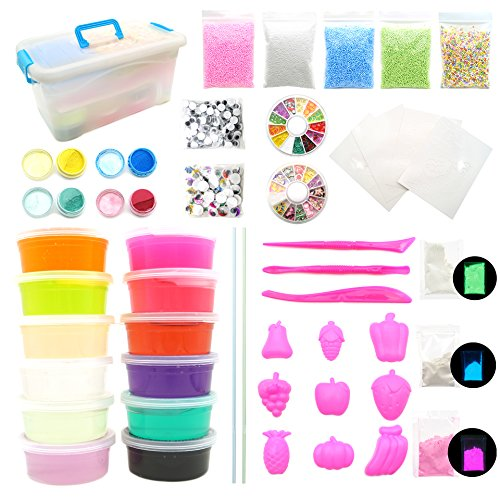 NANAHouse Crystal Slime DIY Kits with Storage Box - 12 Colors Slime with Colorful Foam Balls, Fruit and Pastry Decoration, Eyes, Metal Color Powder, Colored Pearl, 3D Draw Card and Tool for Kids (Mixed Pastries)
