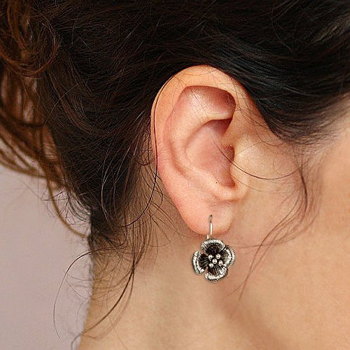 EVER FAITH Women's 925 Sterling Silver Bali Inspired Clover Flower Hook Dangle Earrings