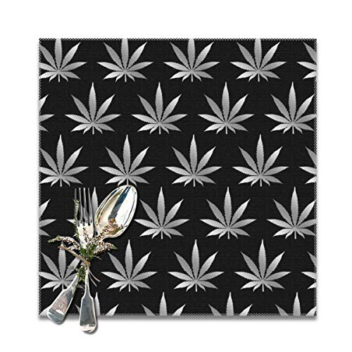 NiYoung Kitchen Placemat Heat Insulation Stain Resistant Large Tablemats for Kitchen Dining Restaurant, Anti-Skid Insulation Pad (Set of 6, Silver Cannabis Weed Leaf Place Mat)