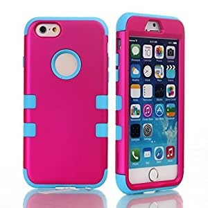 LliVEER Hybrid Impact Cover Hard Armor Shell and Soft Silicone Skin Layer Skin Cover Case for Apple iPhone 6 4.7 inch Hot Pink/Light Blue