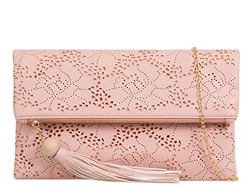 Strap Faux Bag Cut Folded New Laser Flesh Clutch Shoulder Flap Leather Pattern Chain 4nO4tPw0UW