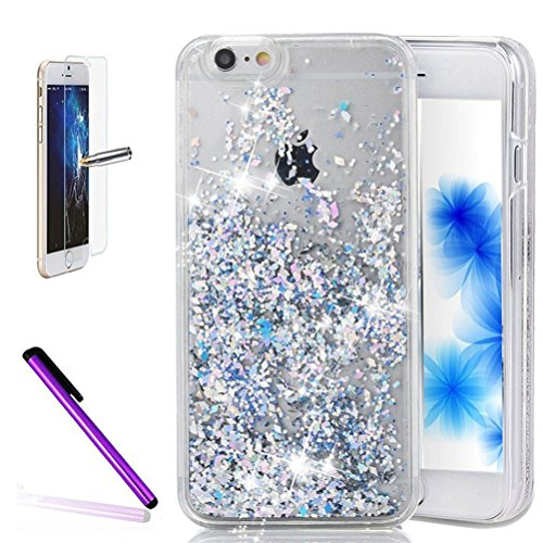 - iPhone 6 Plus Case,ISADENSER PC 3D Glitter Flowing Liquid Floating Moving Hard Protective Case for iPhone 6 Plus [+1 Stylus Pen +1pcs Screen Protector Film] Silver Paillette