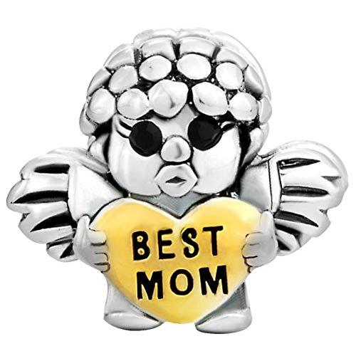 ReisJewelry Mom Charm Heart Love Mothers Day Charms Bead for Bracelets (Best Mom Angel)