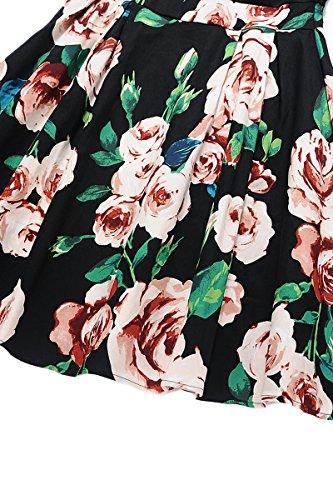 Robe Midi 1 d't Femme Cocktail Vert Robe YMING Col fleur Manches 2 Fleur Rond Robe de Robe Noir Robe Z7wqdX1