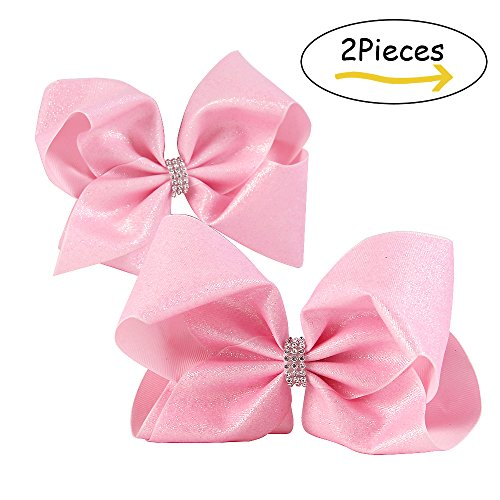 Boutique Accessories (8'' Hair Bows With Alligator Clips Glitter Grosgrain Ribbon Bow Accessories Cheer Bows Boutique For Girls Babies Teens Kids Toddlers 2Pcs (pink))