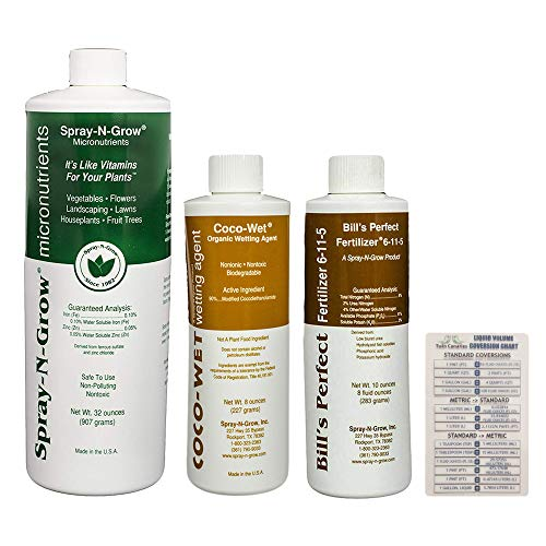 Spray-N-Grow Micronutrients Quart + Coco-Wet Organic Wetting Agent 8 oz + Bill's Perfect Fertilizer 8 oz + Twin Canaries - Quart Fertilizer