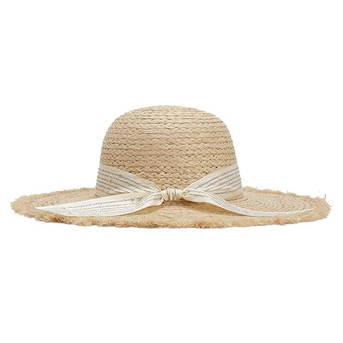a61793ab August Jim Sombreros de Verano para Mujer, Sombrero de Paja de Rafia ...