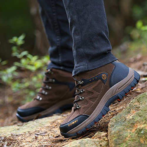 H-Mastery Men's Women's Hiking Boots Low Rise,Waterproof Trekking Walking Climbing Camping Outdoor Shoes for Men Women() Brown