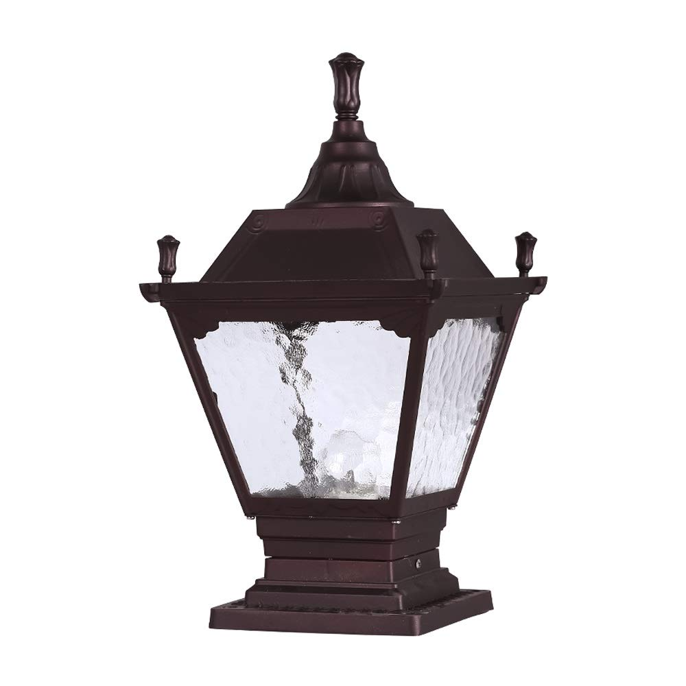 LifeX Outdoor Antique Red-Brown Post Pedestal Lamp Aluminum and Glass Screen E27 Base Garden Lawn Lamp Waterproof IP42 Path Lamp Patio Door Column Wall Pillar Light (Size : L)