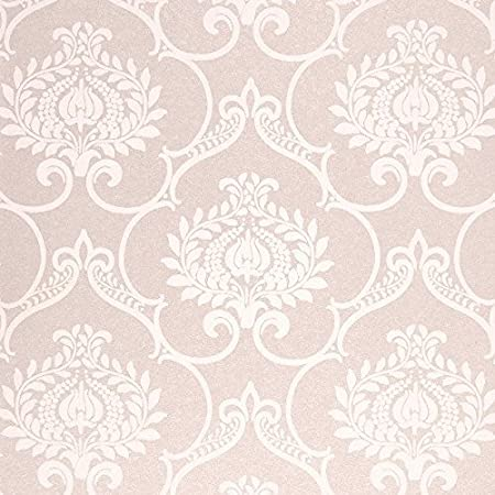 Pearlescent Powder Pink With Damascus Wallpaper Stylised Matte French Style Midnight3 MDG 26454124