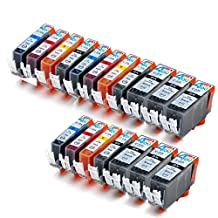 18 Pack - Compatible Ink Cartridges for Canon PGI-225 & CLI-226 PGI-225BK CLI-226BK CLI-226C CLI-226M CLI-226Y Inkjet Cartridge Compatible With Canon PIXMA IP4820 PIXMA IX6520 PIXMA MG5120 PIXMA MG5220 PIXMA MG5320 PIXMA MG6120 PIXMA MG6220