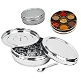 spice container by CHANAKSHA TRADING Stainless Steel Round Spices Box Kitchen Masala Dabba - Spice Container - Masala Dabba - 7 Compartments with 2 Spoon, Airtight Silver Color