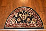 2'2'' x 3'3'Traditional Design Hearth Slice Rug Black Red Fireplace Lodge Cabin Doormat