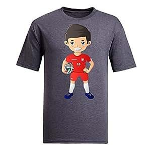 Custom Mens Cotton Short Sleeve Round Neck T-shirt,2014 Brazil FIFA World Cup UP72 gray by Maris's Diary