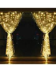 ستارة للنوافذ مزينة باشرطة اضواء ليد عدد 304 بشريط 3 ام والاضواء بشكل نجوم خيالية للتزيين الداخلي والخارجي والاعراس وحفلات عيد الميلاد المجيد وغرف النوم والجدران، لون الضوء ابيض دافئ