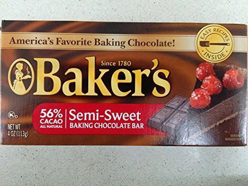 Baker's 56% Cacao Semi-Sweet Baking Chocolate Bar (Pack of 6) 4 oz Bars ()