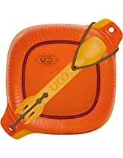 UCO 4-Piece Camping Mess Kit with Bowl, Plate and 3-in-1 Spork Utensil Set