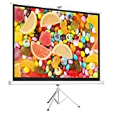Cloud Mountain 120'' 4:3 HD Tripod Stand Projector Screen Home Office Multi Aspect Ratio Projection Home Theater Pull Up Matte White 1.3 Gain