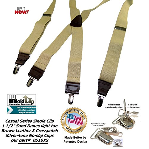 Holdup Suspender Company's Sand Dunes Tan Casual Series X-back Suspenders with Silver-tone No-slip Clips by Hold-Up Suspender Co. (Image #5)