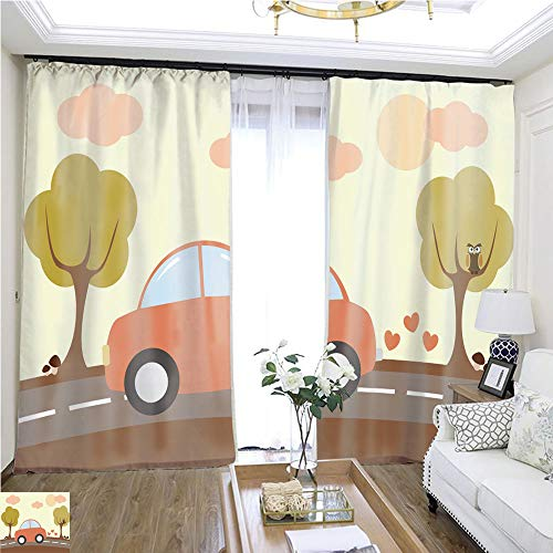 (Curtain lace Cute Lovely Cartoon car Driving in The Country Vector Illustration W72 x L72 Comfortable Space Curtain Highprecision Curtains for bedrooms Living Rooms Kitchens etc.)