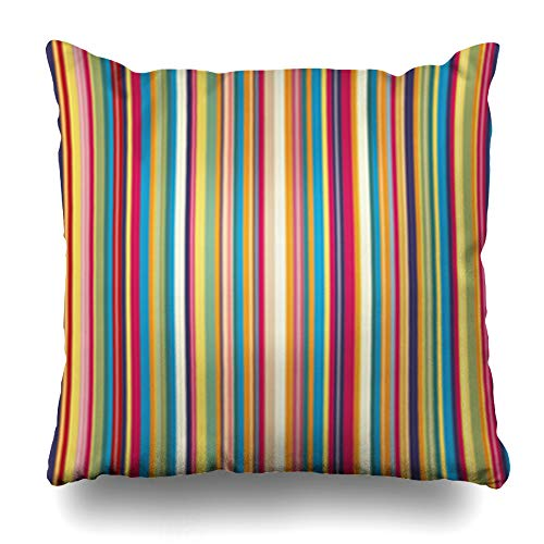 Alfredon Throw Pillow Covers Pink Line Retro Stripe Pattern Colors Green Modern Happy Funky Geometric Fun Pillowcase Square Size 16 x 16 Inches Home Decor Cushion Cases