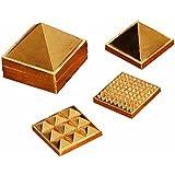 Pari Metal Ashtdhatu Vastu 91 Wish Pyramids in Total Set of 3Pyramid (1-Inch)