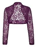 JS Fashion Vintage Dress Dancer's Long Sleeve Boleros Shrugs Crop Cardigan (L,Purple BP49)