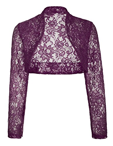 Bridal Shrug (JS Fashion Vintage Dress Womens Bridesmaid Lace Shrug Cardigan Lightweight (3XL,Purple BP49))