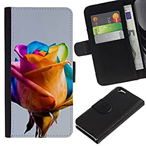 A-type (Colorful Yellow Blue Pink Spring) Colorida Impresión Funda Cuero Monedero Caja Bolsa Cubierta Caja Piel Card Slots Para Apple (4.7 inches!!!) iPhone 6 / 6S