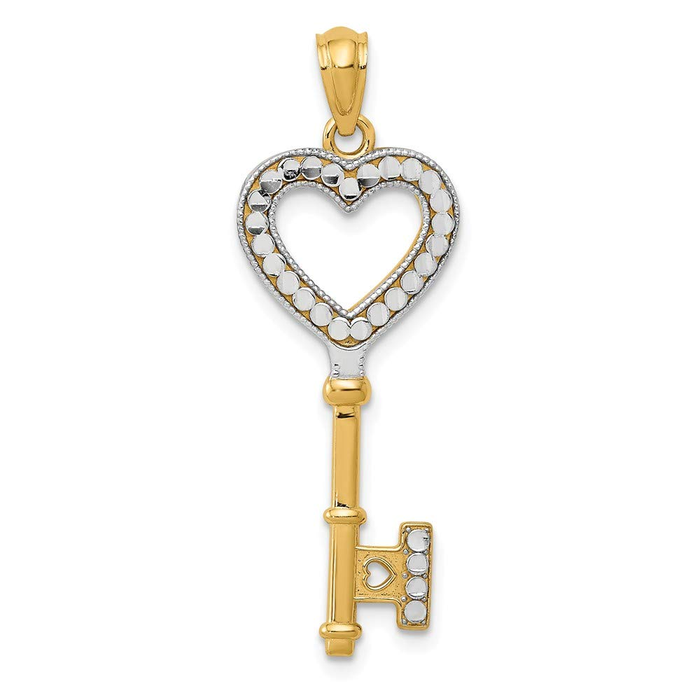 14k Yellow with White Rhodium Two-tone Gold Heart Key Pendant