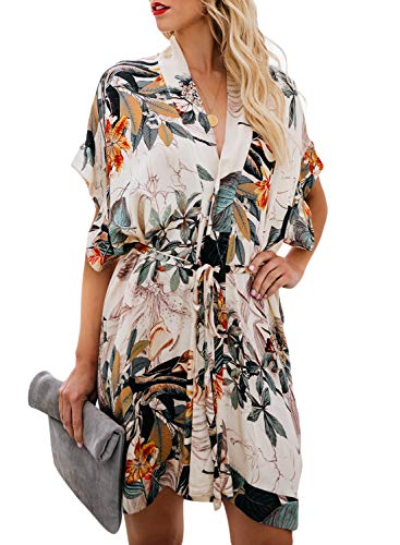 - Biucly Women's Stylish Printed V Neck Tie Waist Mini Skater Half Sleeve T Shirt Kimono Casual Summer Dress Multicolor XL