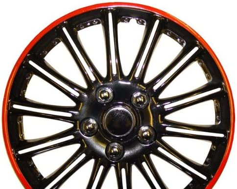 Set of 4 Fiat Grande Punto 15 Inch Black with Red Pinstripe Car Hub Caps Wheel Trims 15