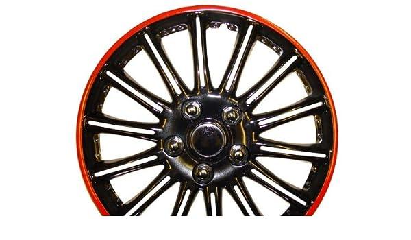 Daewoo Tacuma (15 pulgadas, color negro con rojo de rayas Car Hub Caps tapacubos de 15