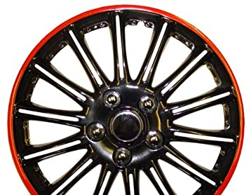 "Ford Fiesta 15 Inch Black with Red Pinstripe Car Hub Caps Wheel Trims 15"" ("