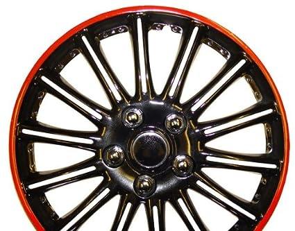 """Nissan Micra (15), Negro con rayas rojo coche rueda tapacubos 15 """""""