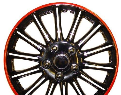color negro con rojo de rayas Car Hub Caps tapacubos de 15/ 4/unidades Citroen C3/15/pulgadas