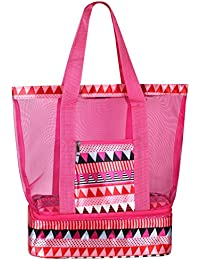 Beach Tote Bag with Mesh Top and Insulated Picnic Cooler Compartment