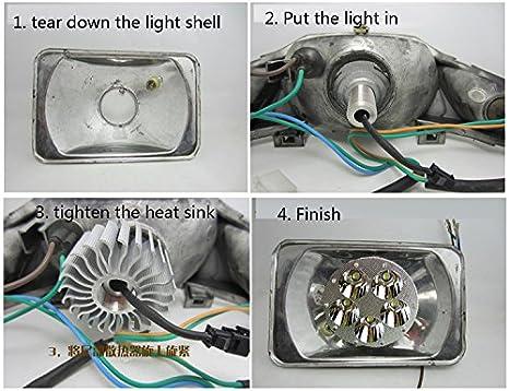 Goldenapplestore Wasserdicht Runde Weiß 30w 6 Led Motorrad Universal Scheinwerfer Roller 6000k Fernlicht Entfernung Licht Birne Lampe 12v 48v 60v 72v 90v Auto
