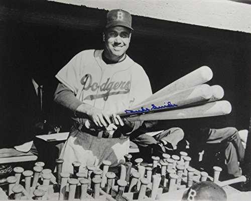 Duke Snider Signed Autographed 16x20 Photograph Los Angeles Dodgers Holding Bats