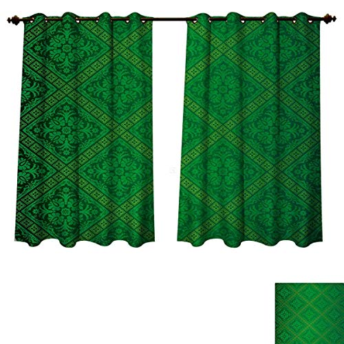 Anzhouqux Green Blackout Thermal Curtain Panel Vector Illustration Seamless Pattern of Foliage Wallpaper Pattern Artwork Print Patterned Drape for Glass Door Forest Green W63 x L72 ()