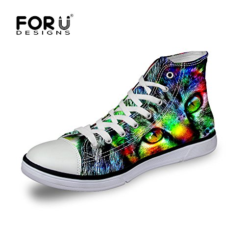 FOR U DESIGNS Fashion Animal Print Comfortable High Top Canvas Women & Men Sneakers Lace Up