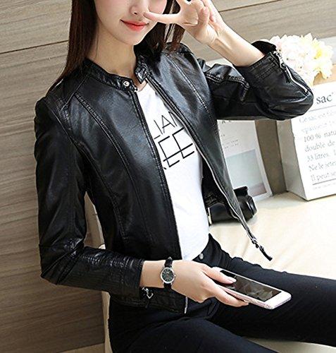 de Mujer Cazadoras PU Motociclista Manga con Negro Cuero Larga Chaqueta Abrigo de Cremallera fqRqrnZt