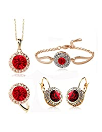 Sale at Cut-Throat Prices Crystal Earring Necklace Ring Bracelet Jewelry Set