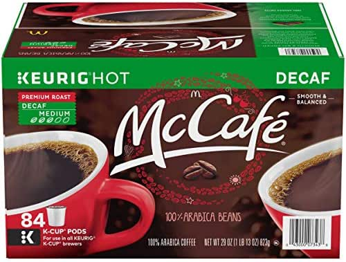 McCafe Decaf Premium Roast Keurig K Cup Coffee Pods, 84 Count